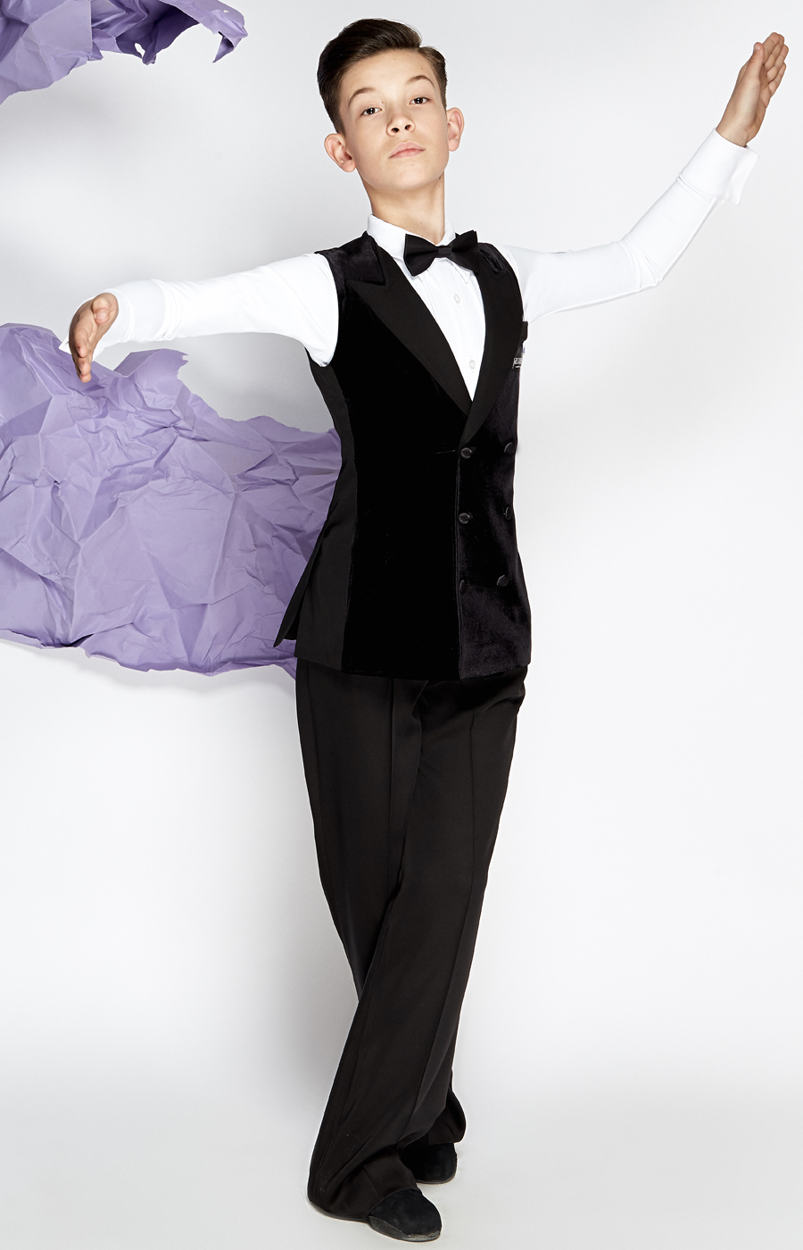 Junior velvet ballroom waistcoat 2x breasted