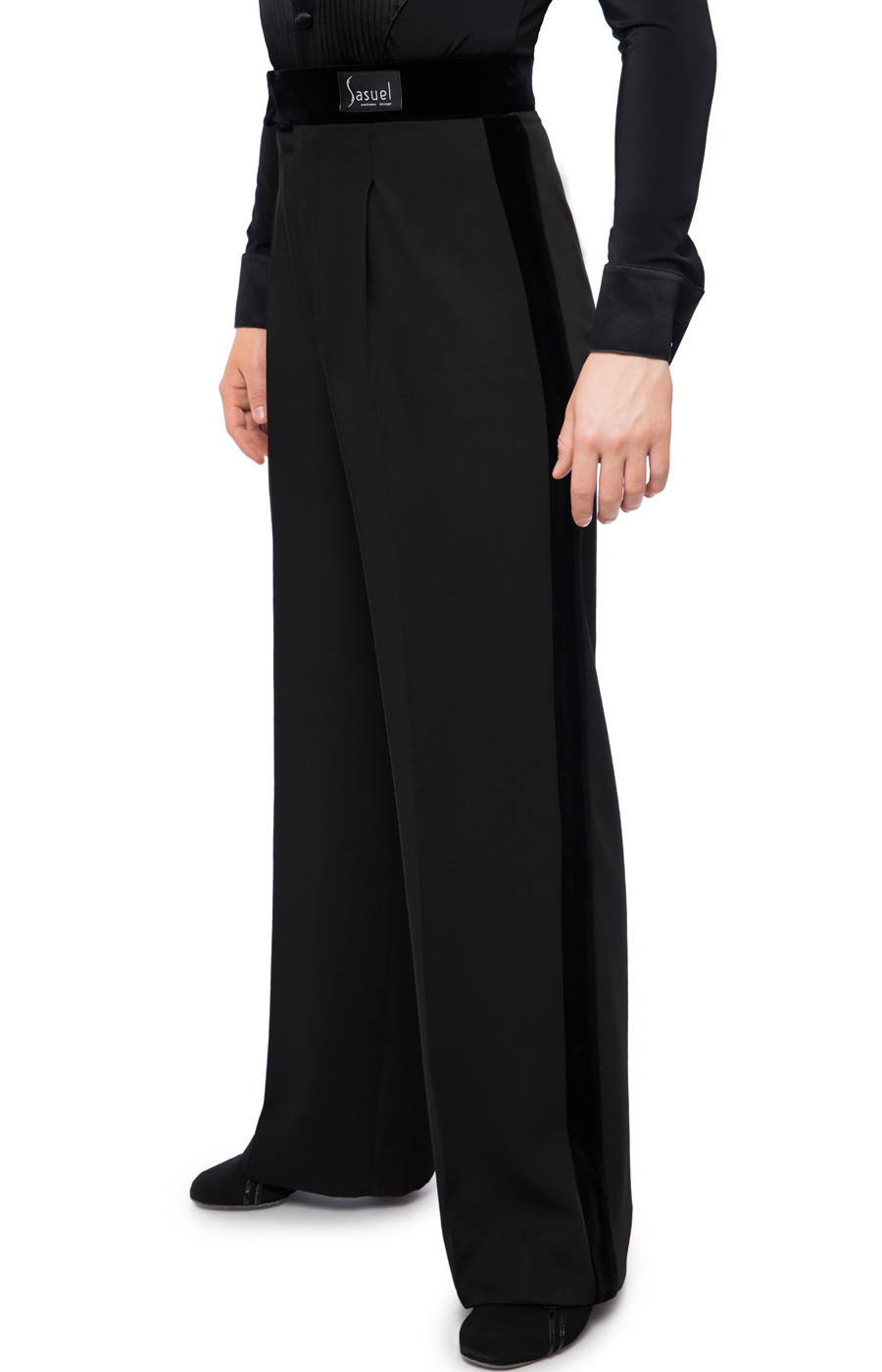 Latin trousers 1x pleat with velvet binding