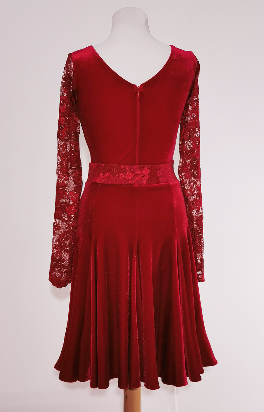 Juvenile burgundy velvet dress