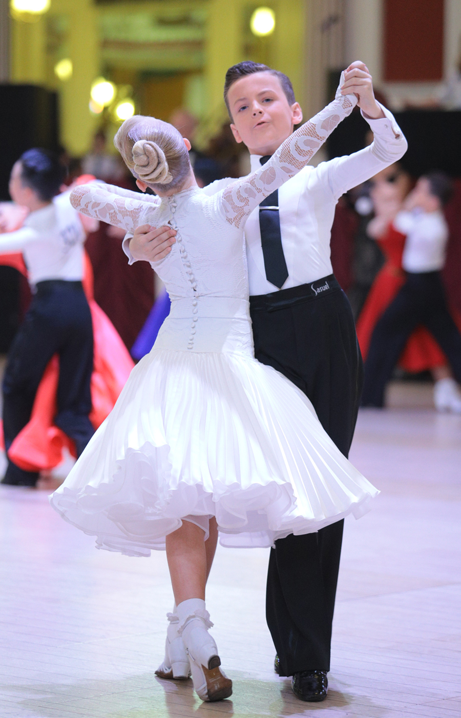 Juvenile white ballroom dress